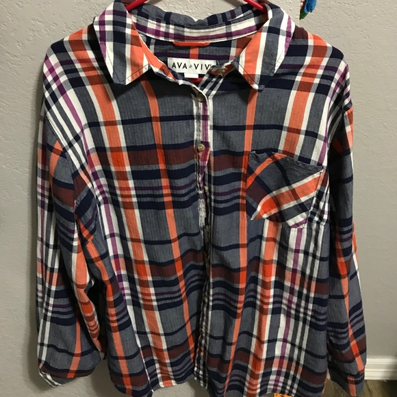 615d970dd9c48 Ava   Viv Tops - Target Plus Size Ava   Viv Plaid Button Up